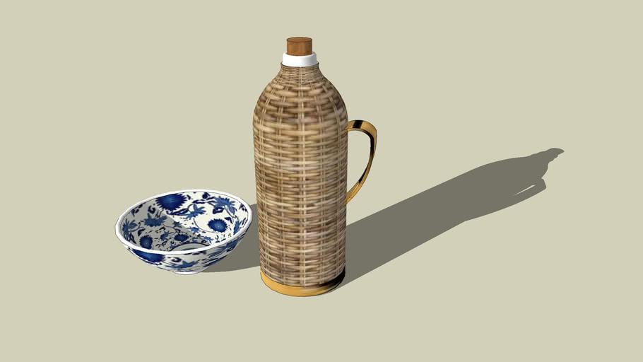 竹皮壶与蓝花碗