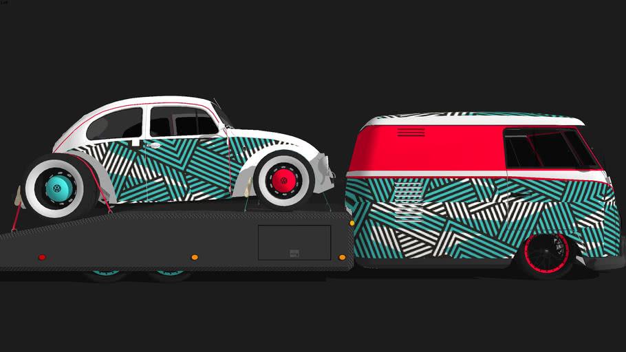 Custom VW T2 SplitScreen Hauler + Custom VW Bettle - Rotiform Wrap