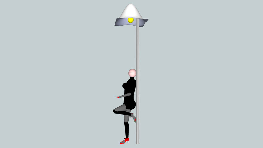 3d woman leaning against a lamppost