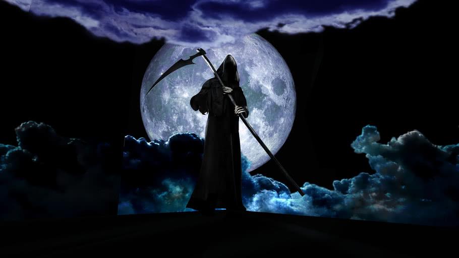 Grim Reaper in moonlight