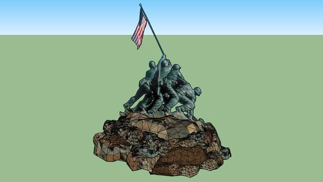 Iwo Jima Sculpture - 3D/2D rotating