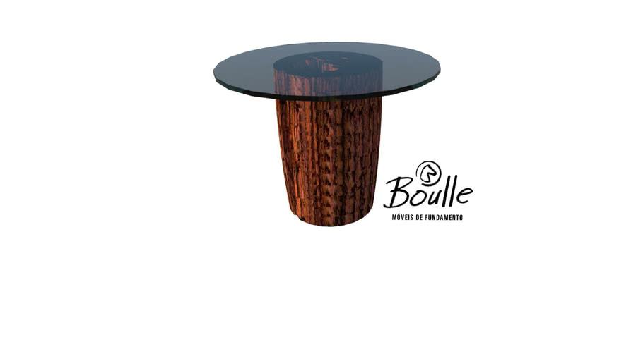 Mesa de jantar de tronco com tampo em vidro