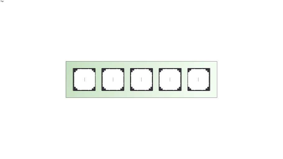 Real glass frame, 5-gang, Emerald green