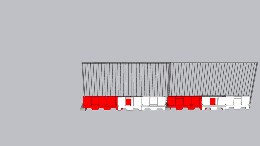 Heras site fence with water filled traffic demarcations - Construction site fence
