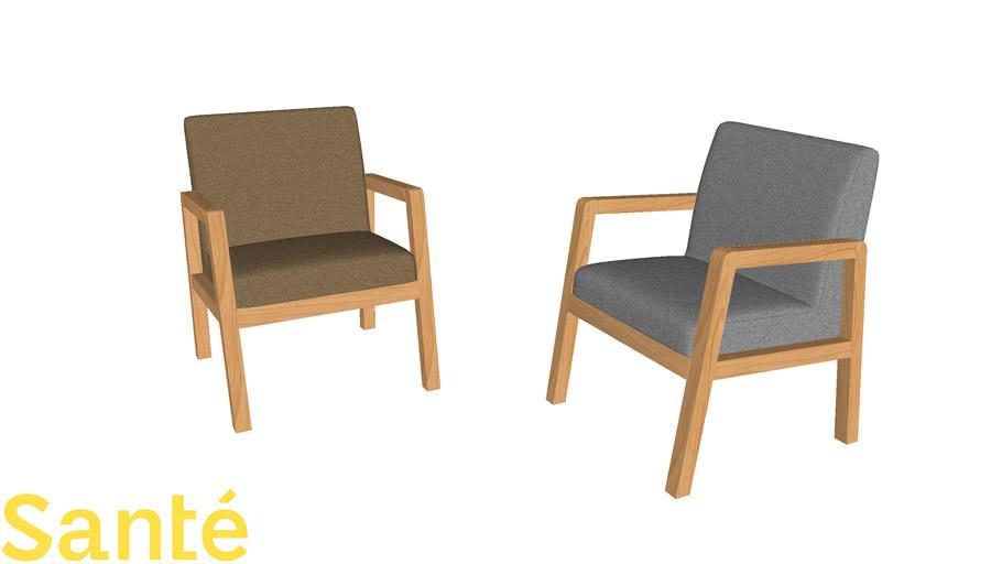 Poltrona Colline madeira - Para hospital, clinica, consultório - Sala espera/recepção/moderna