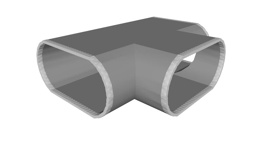 Ductwork Oval Metal 2ft Split Tee Joint - Detailed