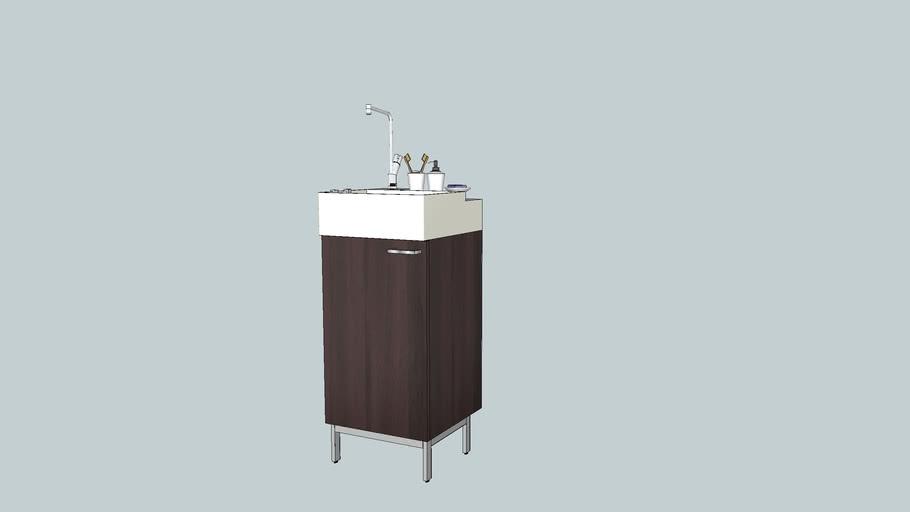 LILLÅNGEN Élément lavabo à 1 porte, brun noir