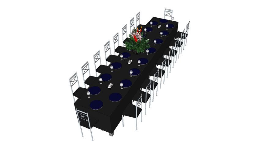 mesa jantar festa toalha preta.