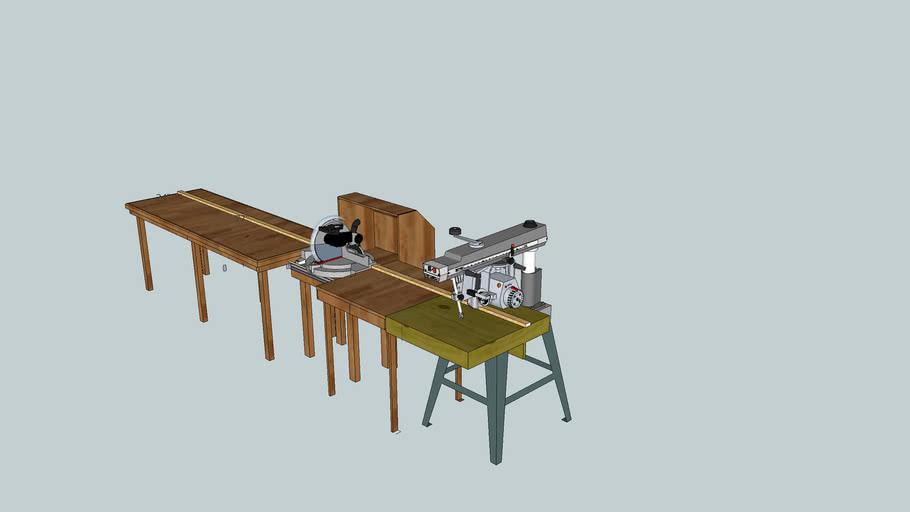 miter saw station with radial arm saw