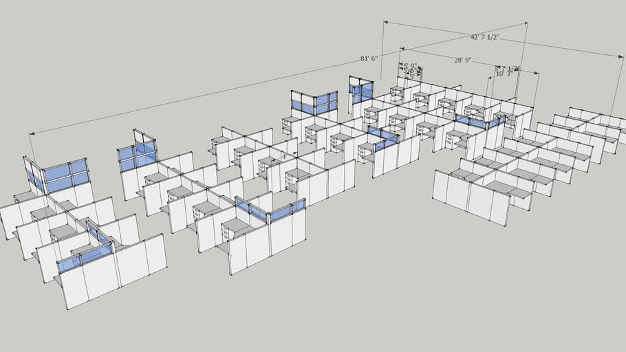 5.5' X 5' Cubicles, glass stackers, by: Capital Choice Office Furniture
