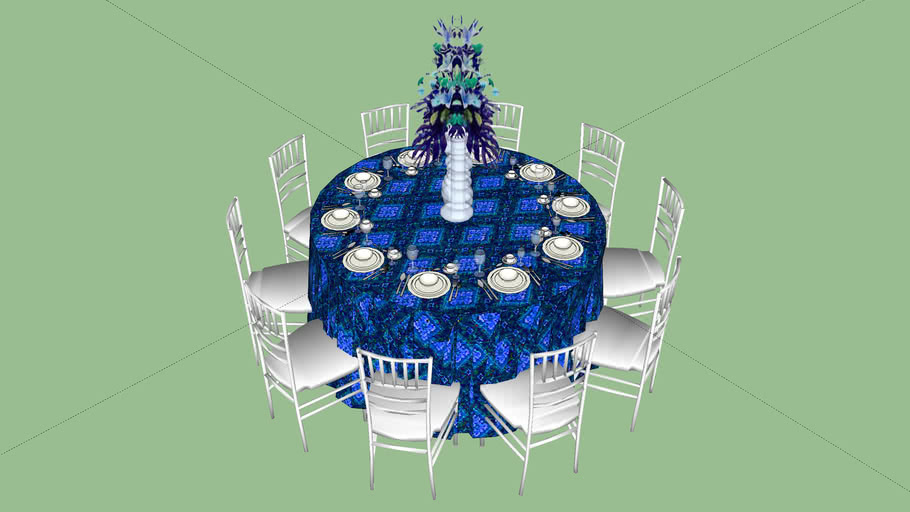 Round Table 60 10 Chair 3d Warehouse