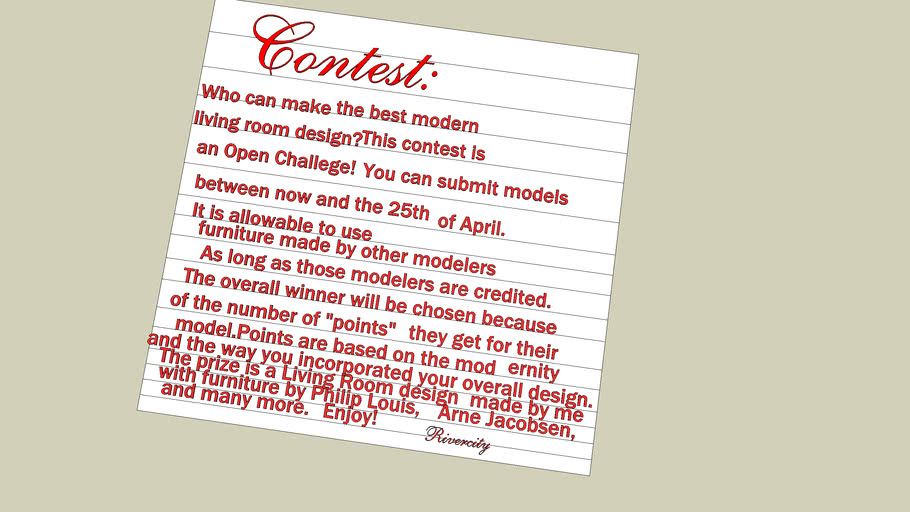 Open Chalenge #3 : Modern Living room.Downloa it and read it, also tag with living room contest!!!
