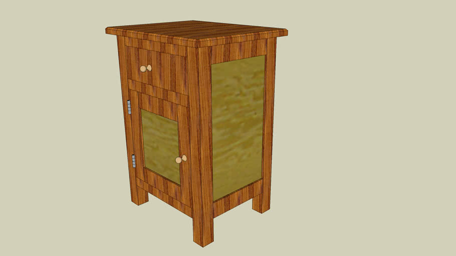 Bedside table, with draw and door - plans