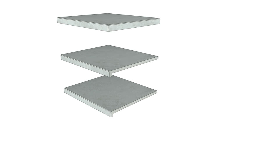 Silver Grey Porcelain Step 596 × 500 with  40mm Downstand