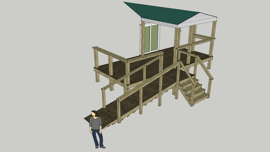 Add On Weather Treated Back Porch with Handicap Accessible Ramp
