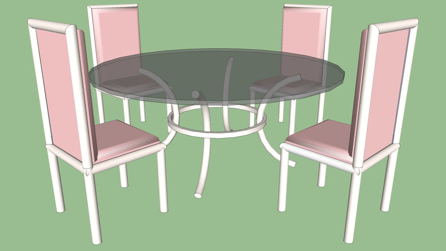 Round Glass Table And Chairs 3d Warehouse