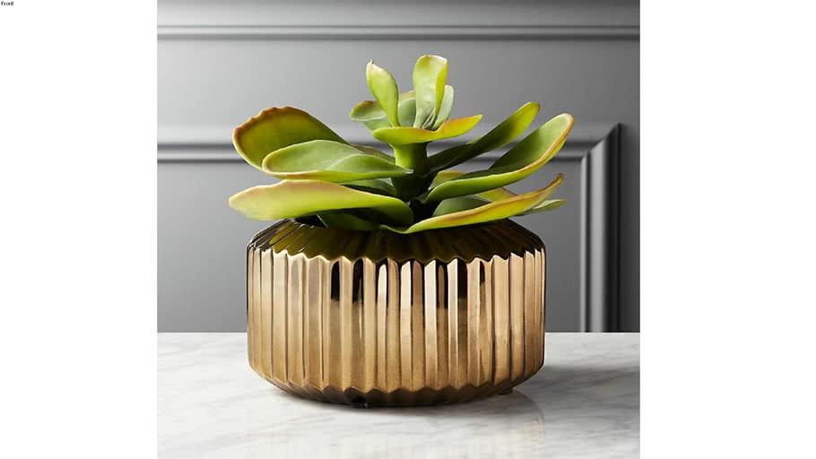 CB2_Potted Faux Succulent Gold Pot
