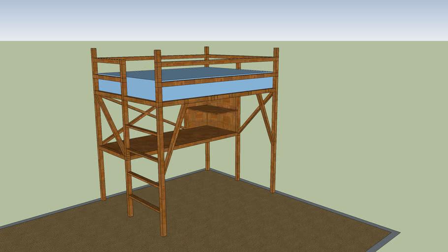 Queen Size Loft Bed 3d Warehouse