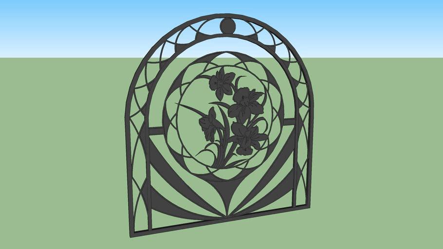 Gate, panel fence, lattice - Daffodil flower