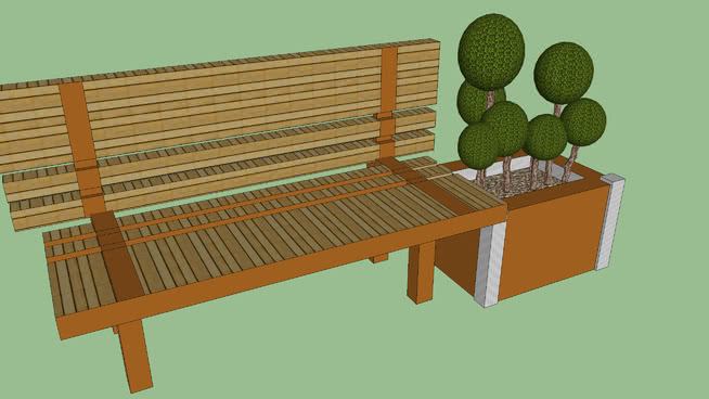 bench with pot