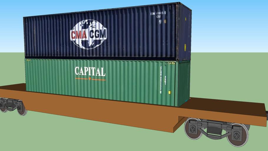 Container Double Stack in Intermodel Train Car