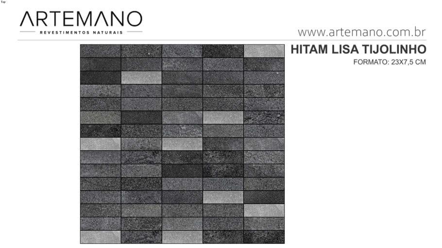 Hitam 23x7.5cm tijolinho lisa Premium www.artemano.com.br