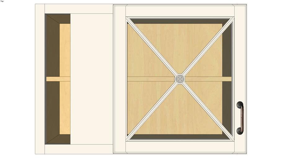 Wall Blind Corner Single Door 24H with Classic Mullion Antiquity Glass Insert