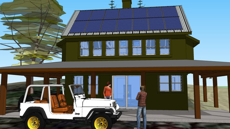 Off Grid Small Solar House Open 3 Story Plan W Bath Kitchen And