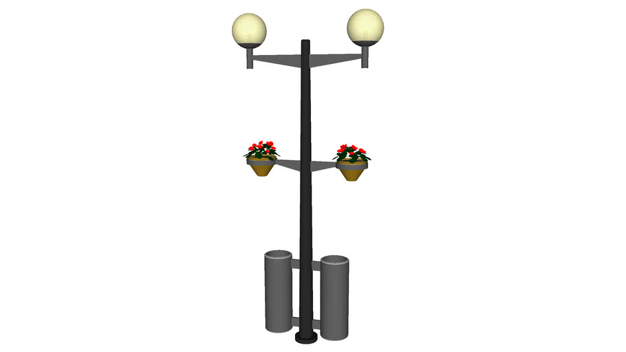 Globes Lamp Post with Trashcans - Detailed