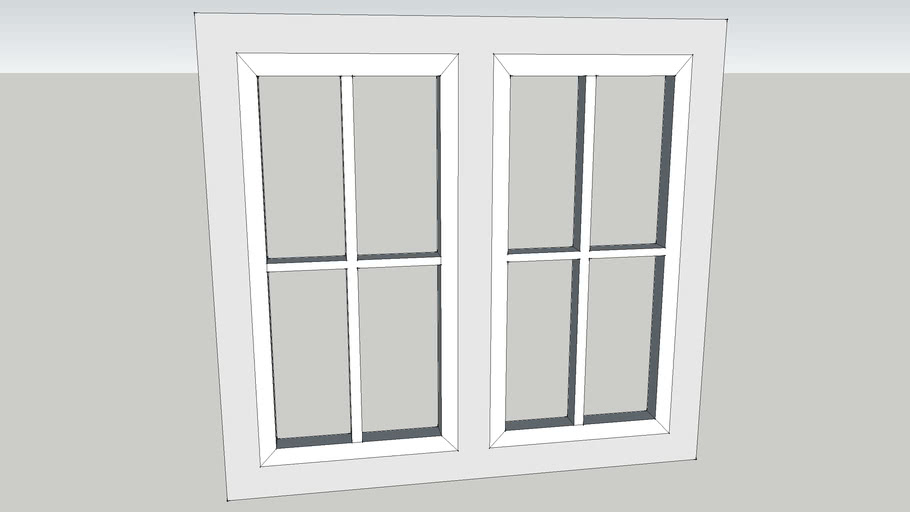 Double Wooden White Painted Casement