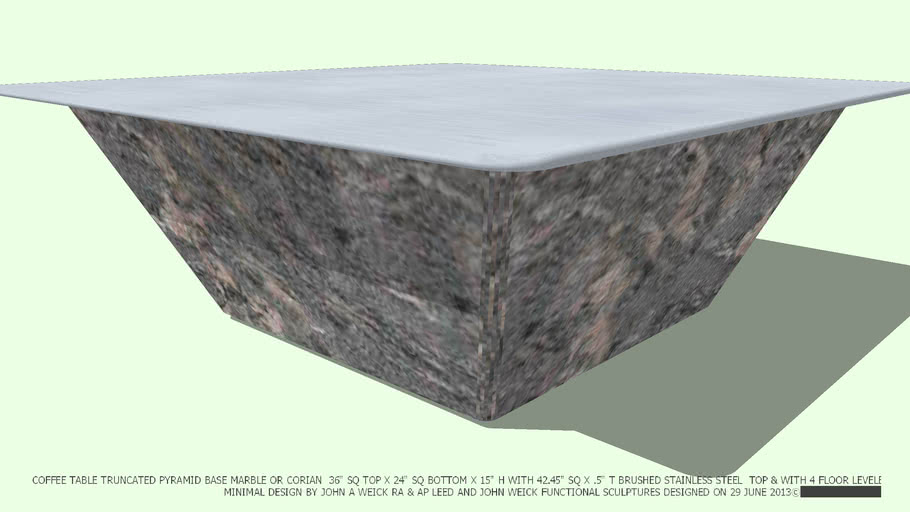 COFFEE TABLE MARBLE BASE TRUNCATED PYRAMID 42 ST ST TOP JOHN A WEICK RA
