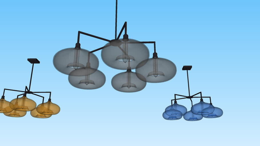 Quill 5 Modern Glass Chandelier by Niche Lighting