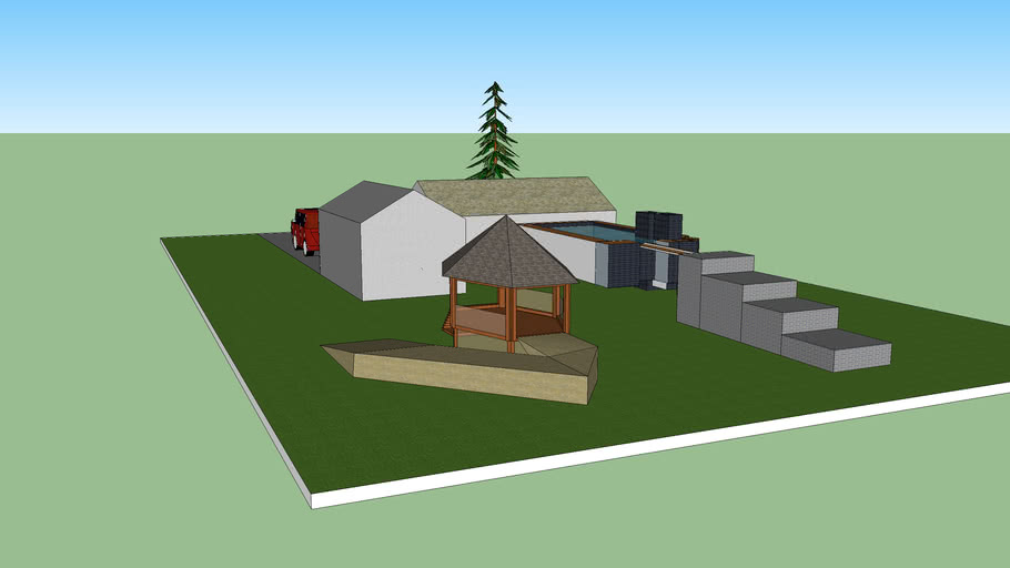 House With Garage And A Gazibo And Pool