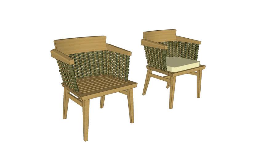 Cadeira Lótus com braço (verde)