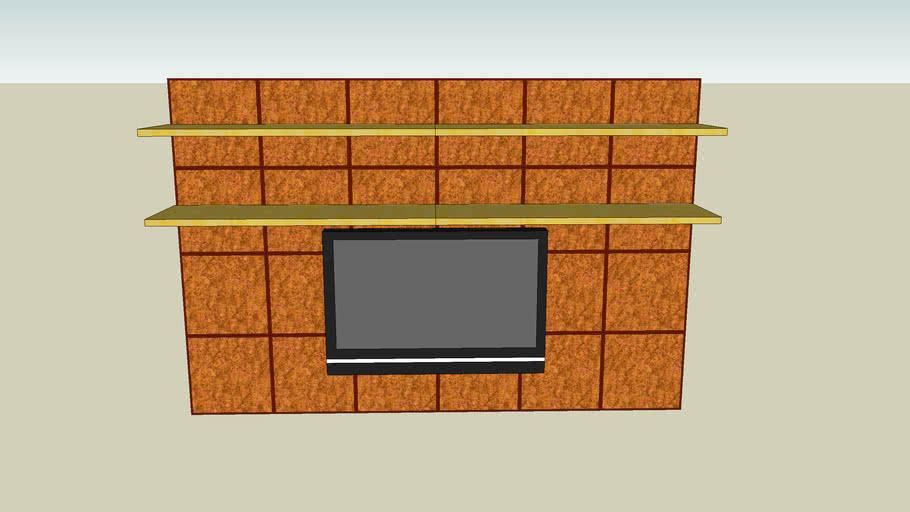 mural tv acero madera