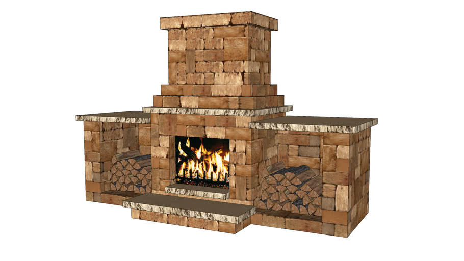 Colonial Fireplace with Wood Boxes