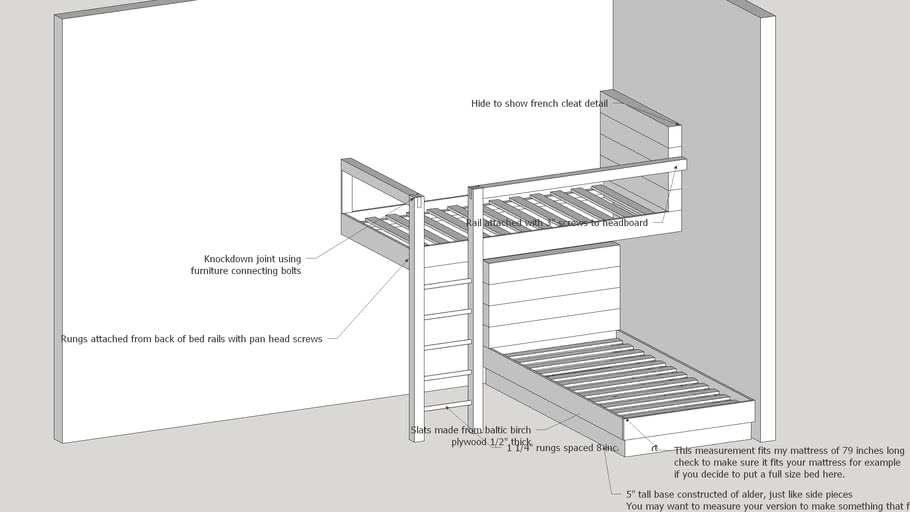 Floating Loft Bed 3d Warehouse
