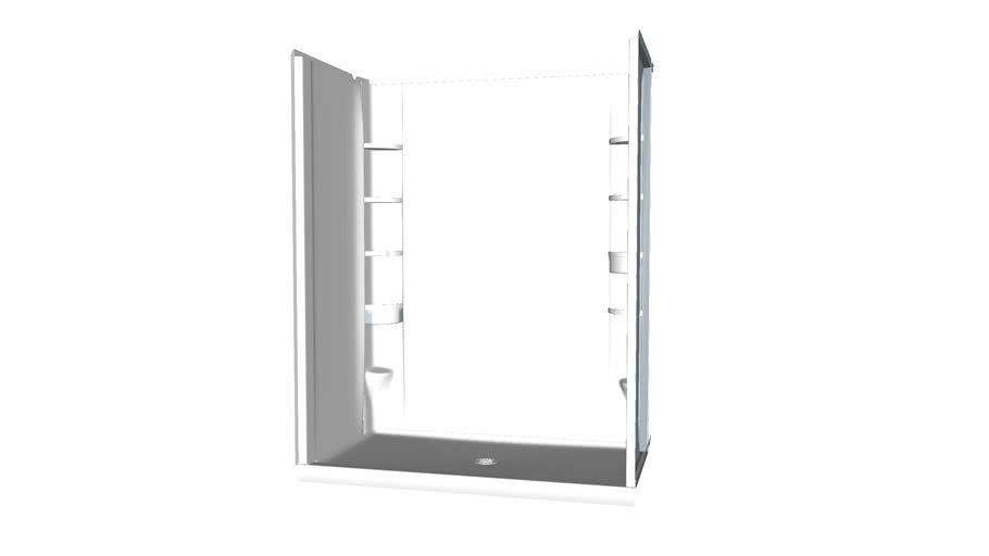 72330106 STORE+(R) Series 7233, 60 inch x 34 inch x 75-3/4 inch Shower Stall With Aging in Place Backerboards