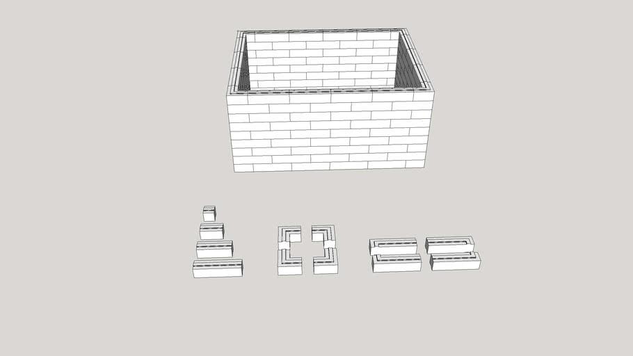 Aircrete 12 piece interlocking block system