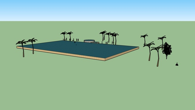 pool area with palm tress