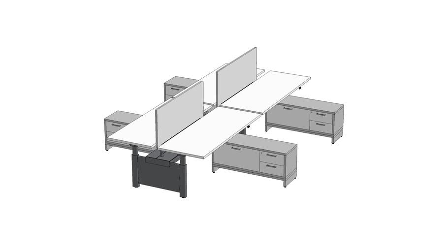 Watson Seven Electric Workbench Open Plan 4-pack 5.5' x 6' #OPNSB003