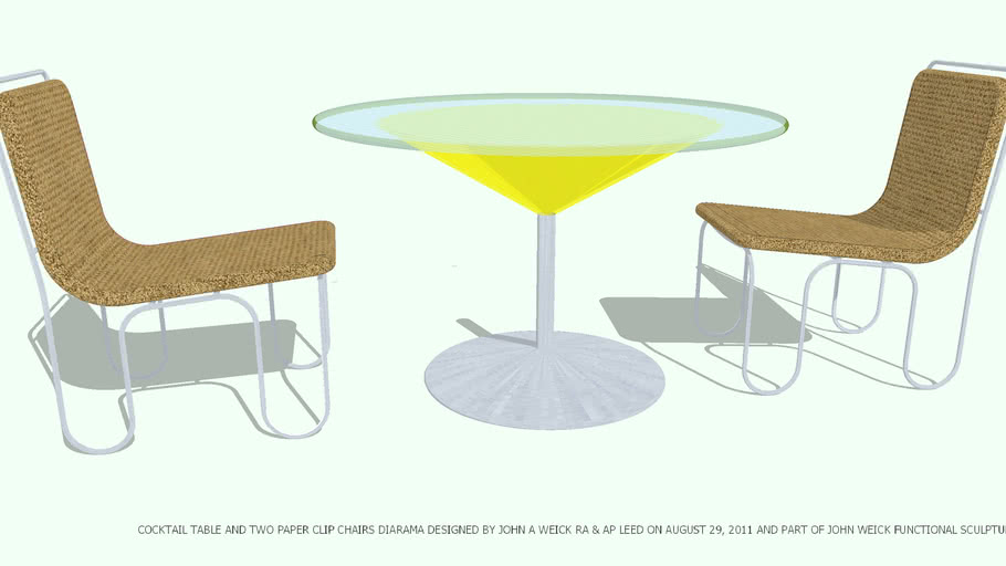 TABLE COCKTAIL & 2 CHAIRS DESIGNED BY JOHN A WEICK RA & AP LEED