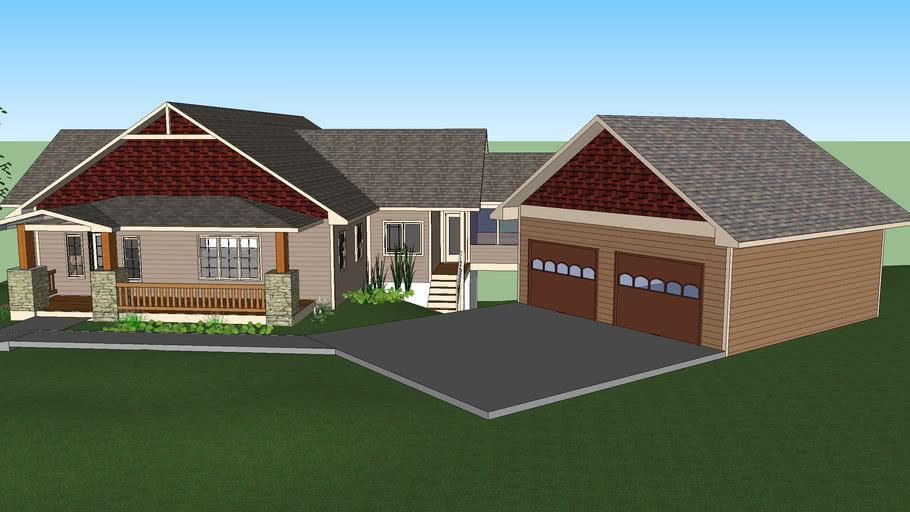 Craftsman Home w Basement and 2 Car Detached Garage