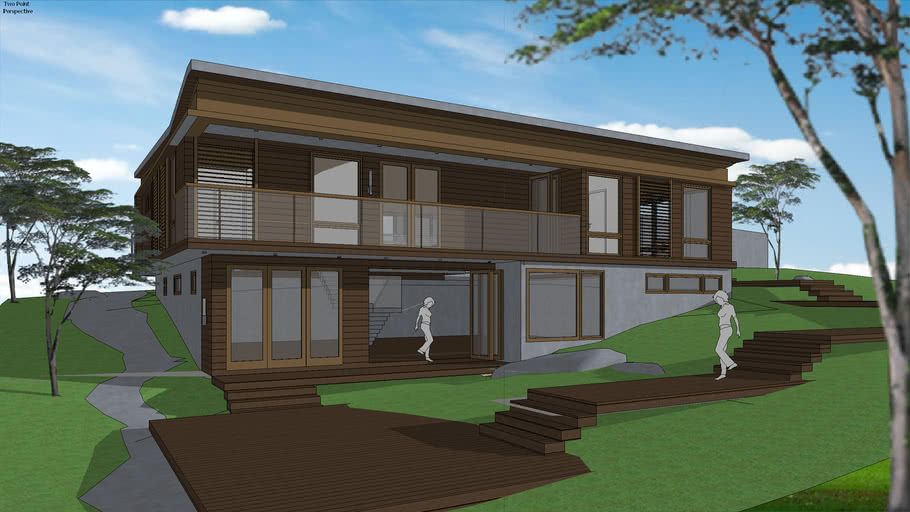 Modern Contemporist House Wood Siding Sloped Roof And Minimalist Contemporary Window And Shutters 3d Warehouse