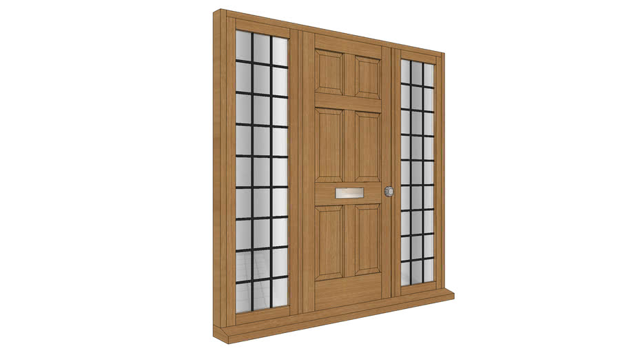Door with leaded sidelights