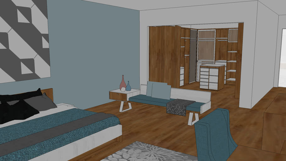 Master bedroom with bathroom and walk in closet | 3D Warehouse