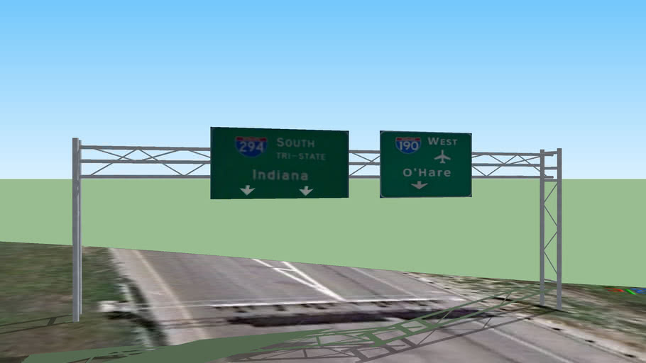 I-90 Guide Signs- I-294 [SB] Toll Indiana and I-190 O'hare West