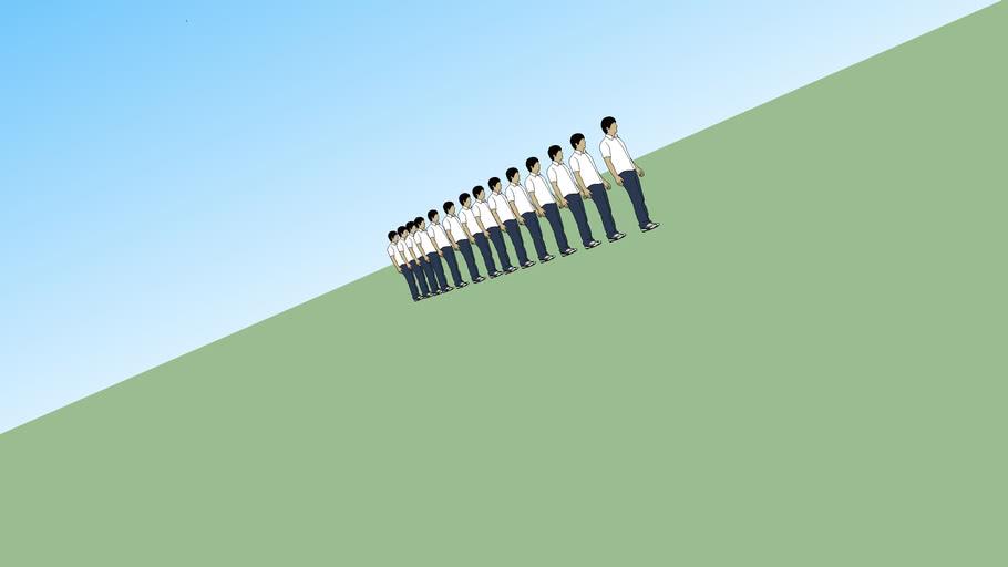 Line of people at a weird veiw