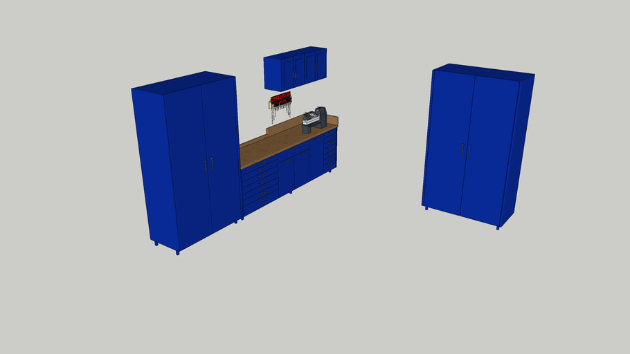 Garage cabinets with tools
