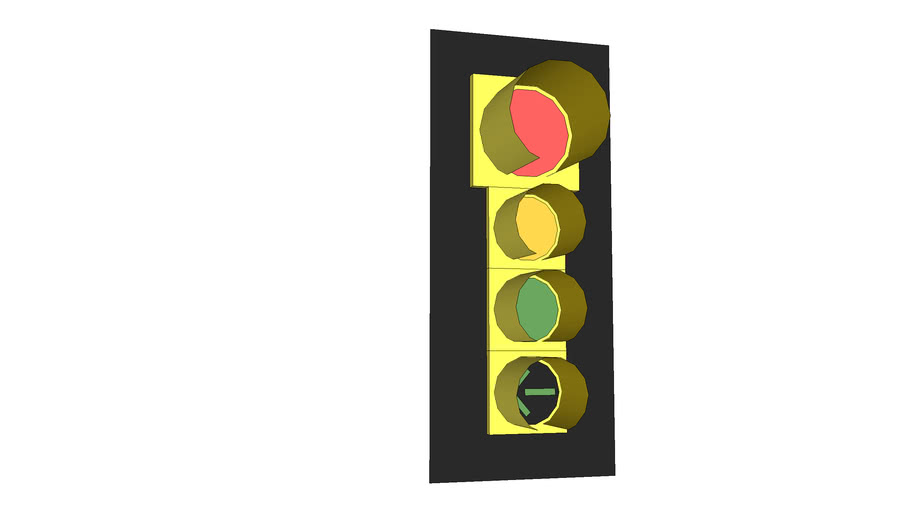 Traffic Signal Advance Green with Frame, 12 Inch: Red; 8 Inch Yellow, Green & Left Green Arrow